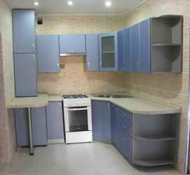Кухни с фасадами из мдф синий металлик